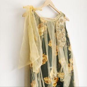 VINTAGE Forest Green/Gold Embellished Dress | S-M